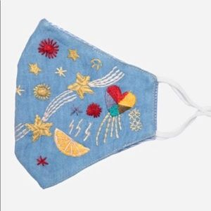 NEW! Johnny Was Embroidered 🌈❤️⭐️ Denim Face Mask